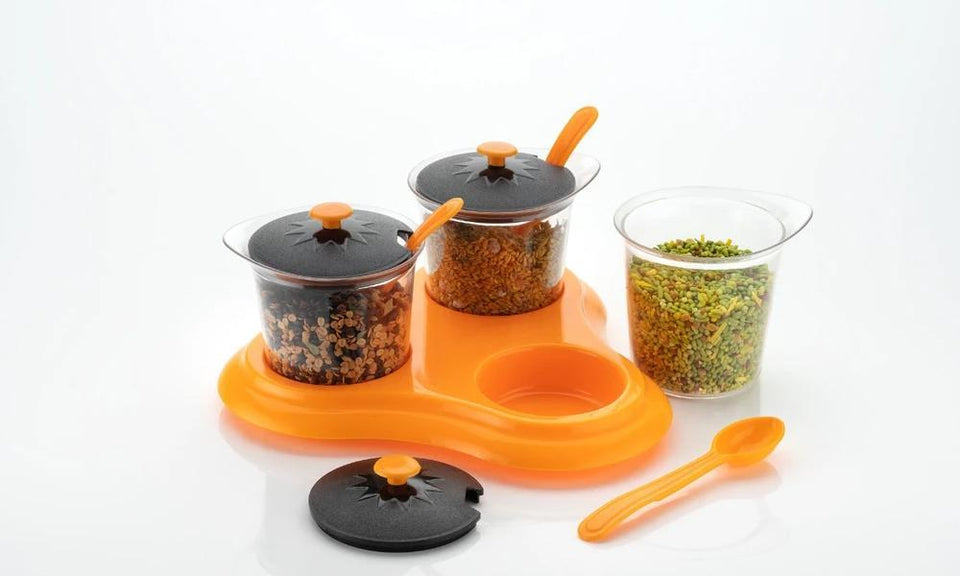 Multipurpose Dining Set Jar and tray holder, Chutneys/Pickles/Spices Jar - 3pc