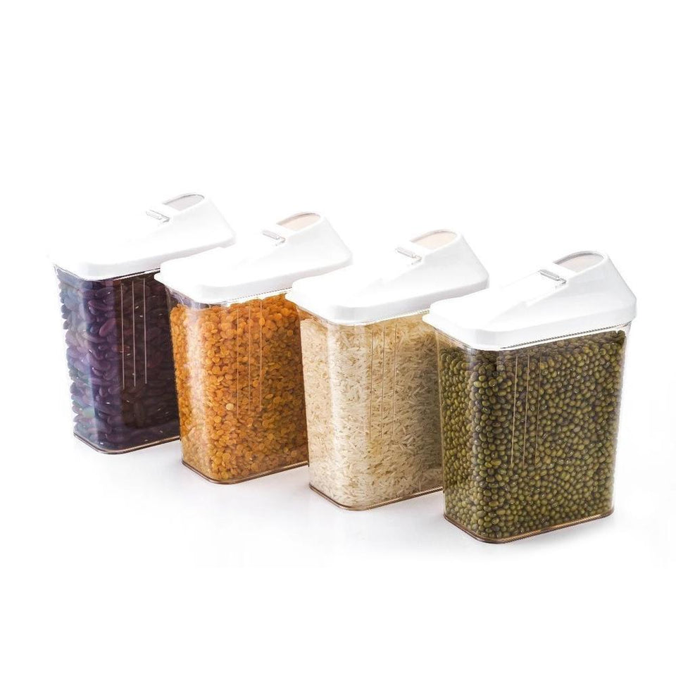 0096 Plastic Easy Flow Storage Jar with Lid (750ml, Set of 6) - mstechindia.com