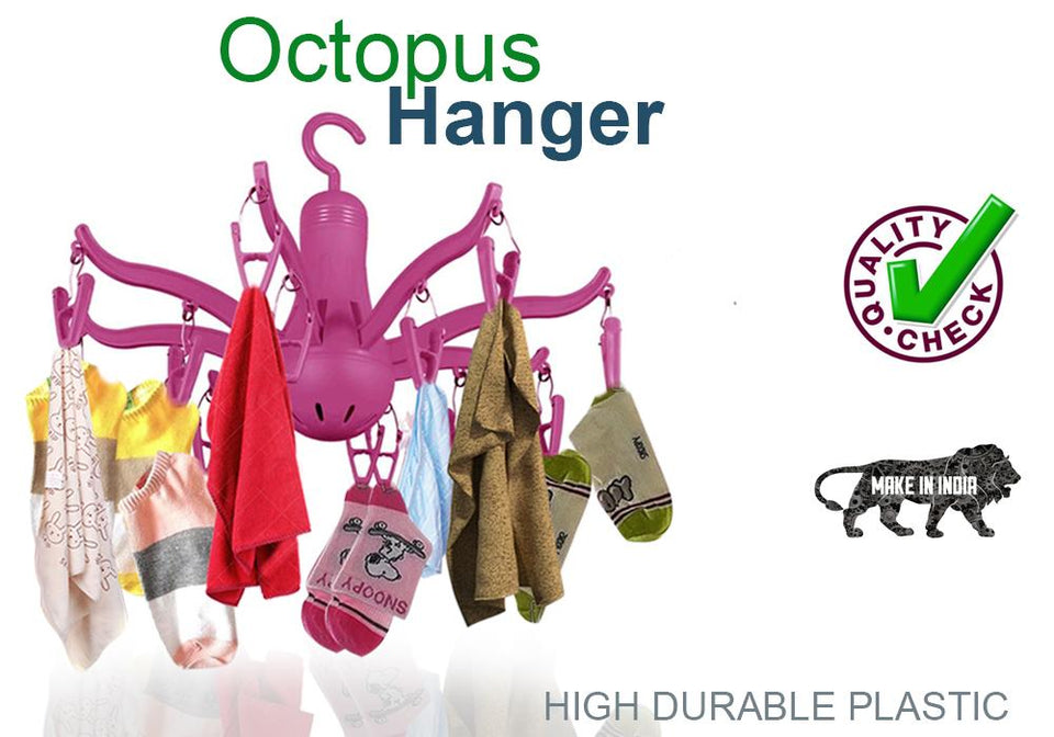 0229 -8-Claw Octopus Hanging Dryer 16 Clothes pegs, Simple to fold up and Put Away - mstechindia.com