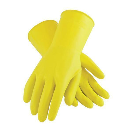 0667 - Flock line Reusable Rubber Hand Gloves (Natural) - 1pc