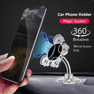 0637 -360 Rotatable Flower Shape Cellphone Holder Car & Mount Sucker Stand (Multicolored)