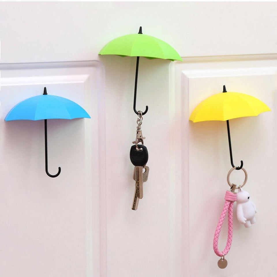 0486_3pcs/set Cute Umbrella Wall Mount Key Holder Wall Hook Hanger Organizer Durable Wall hooks bathroom kitchen Umbrella Wall Hook