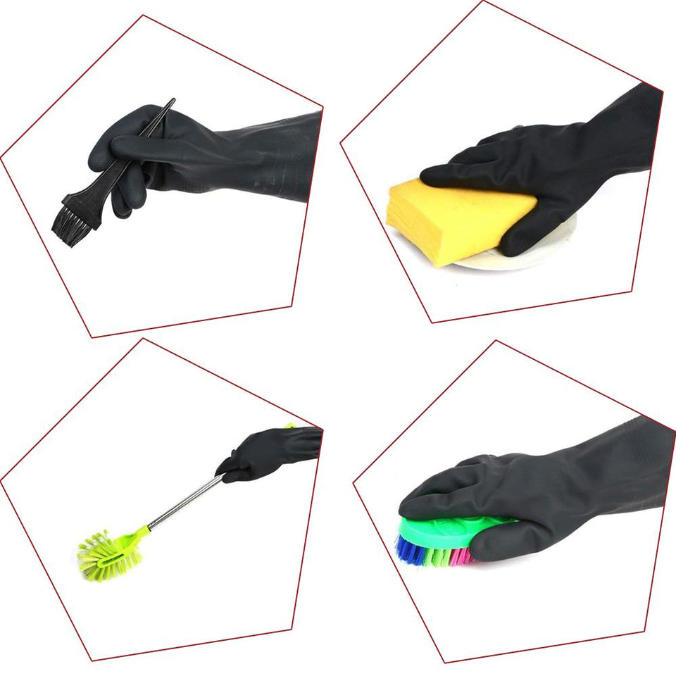 0673 - Heavy Reusable Rubber Hand Gloves (Black) - 1pc