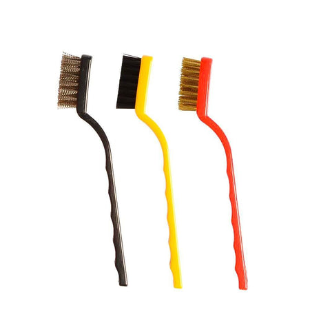 0184 -3 Pc Mini Wire Brush Set (Brass, Nylon, Stainless Steel Bristles) - mstechindia.com