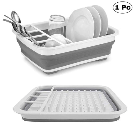 0804 Collapsible Folding Silicone Dish Drying Drainer Rack with Spoon Fork Knife Storage Holder