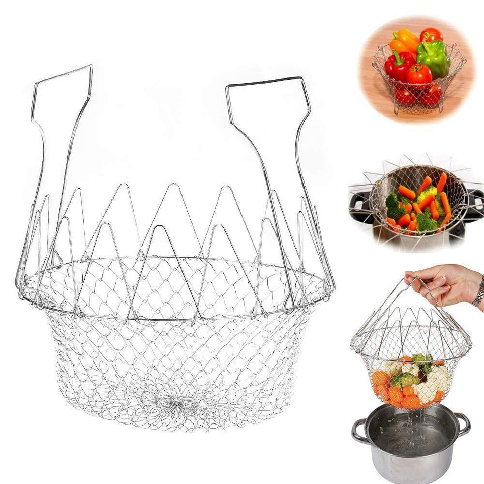 0139 Foldable Strainer Chef Basket - mstechindia.com