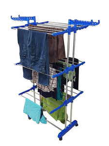 0733 Stainless Steel Double Pole 3 Layer Cloth Drying Stand