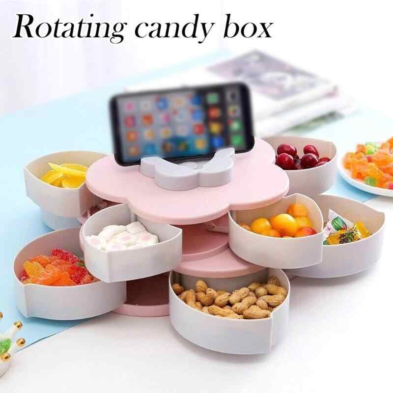 0758 Maitri Double Layer Rotary Storage Box Flower Design Wedding Snack 10 Grid Candy Box