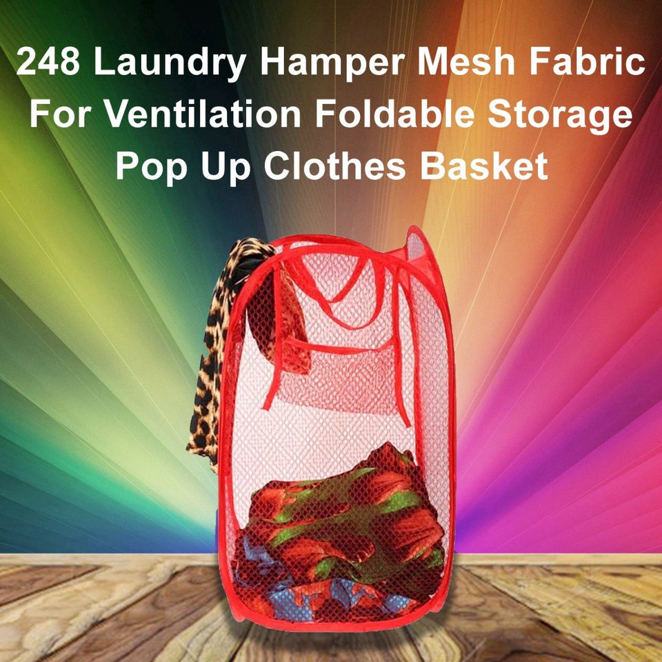0248 Laundry Hamper Mesh Fabric For Ventilation Foldable Storage Pop Up Clothes Basket - mstechindia.com