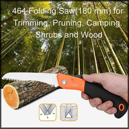 0464 Folding Saw(180 mm) for Trimming, Pruning, Camping. Shrubs and Wood