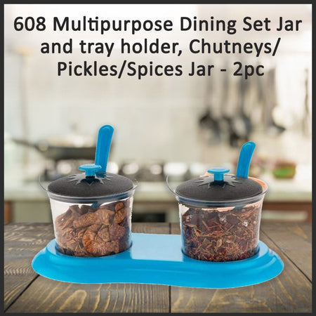 0608 Multipurpose Dining Set Jar and tray holder, Chutneys/Pickles/Spices Jar - 2pc