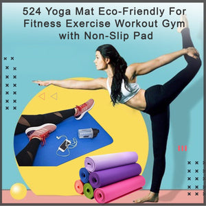 0524_Yoga Mat Eco-Friendly For Fitness Exercise Workout Gym with Non-Slip Pad (180x60xcm) Color may very