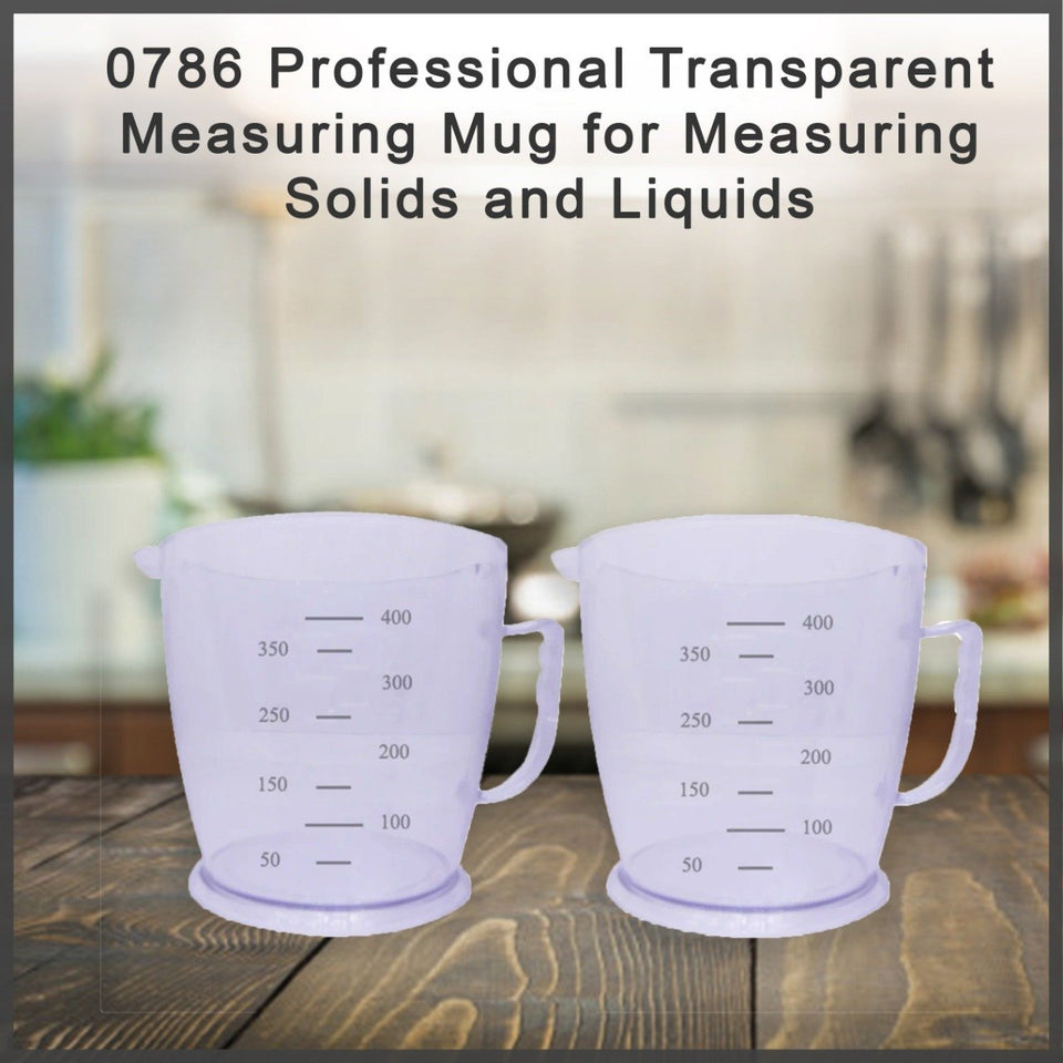 0786 Professional Transparent Measuring Mug for Measuring Solids and Liquids - Pack of 2