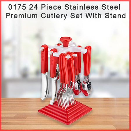 0175 24 Piece Stainless Steel Premium Cutlery Set With Stand - mstechindia.com