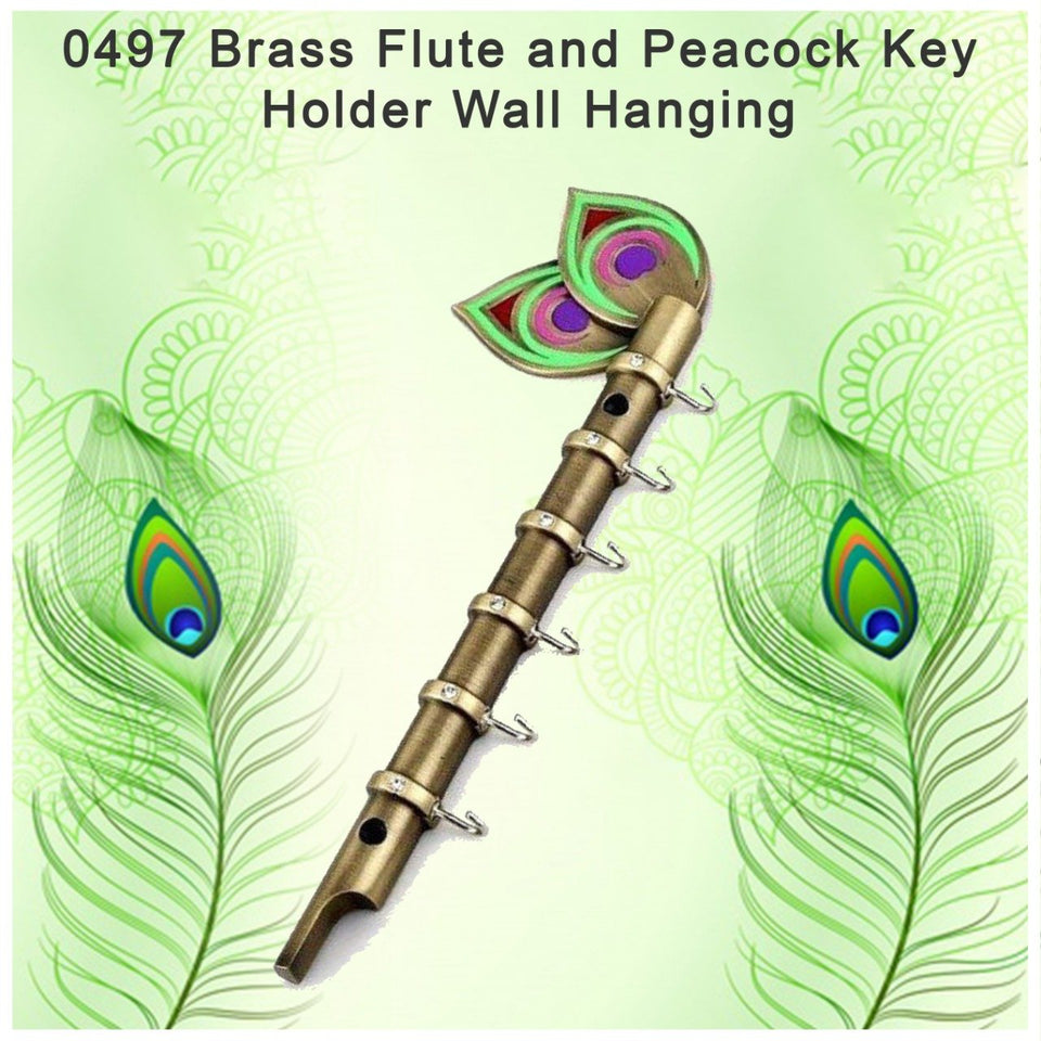 0497 Brass Flute and Peacock Key Holder Wall Hanging