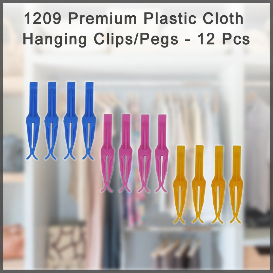 1209 Premium Plastic Cloth Hanging Clips/Pegs - 12 Pcs
