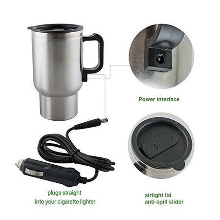 0551 -12V Car Charging Electric Kettle Mug (Silver)