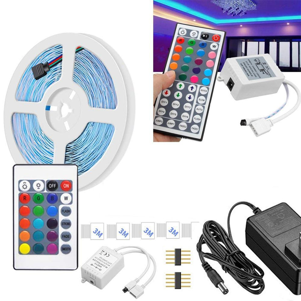 0216 Waterproof RGB Remote Control Color Changing LED Strip Light (5-Meter) - mstechindia.com
