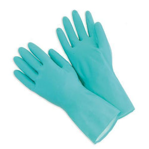 0663 - Flock line Reusable Rubber Hand Gloves (Green) - 1pc