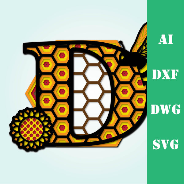 Bee letter D, multi layer mandala  honeycomb alphabet