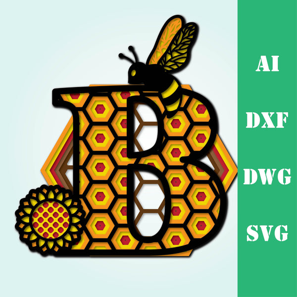 Bee letter B, multi layer mandala  honeycomb alphabet