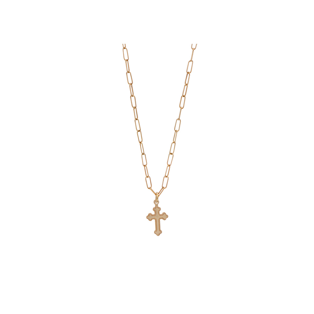 Sustainable 14k Gold Classic Cross Pendant link chain Necklace. Handmade by Women in Los Angeles overcoming homelessness.