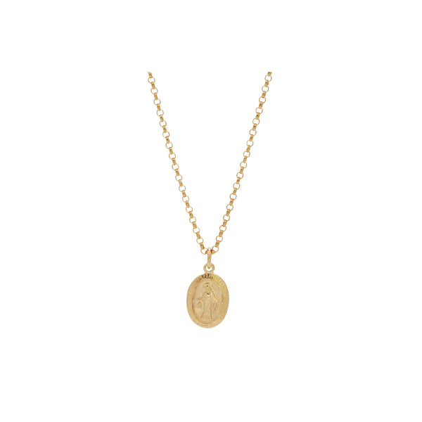 14k Gold Pendant Madonna Necklace. Vintage inspired engraved pendant, suspended from a 14k gold round link chain. Made locally by women at The Rode. Each purchase supports women overcoming homelessness.
