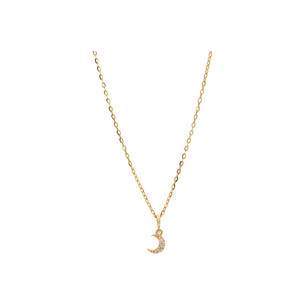 14k gold moon pendant set with diamonds and sparkles as it floats delicately from a fine, gold link chain. Handmade by women overcoming homelessness in Los Angeles.