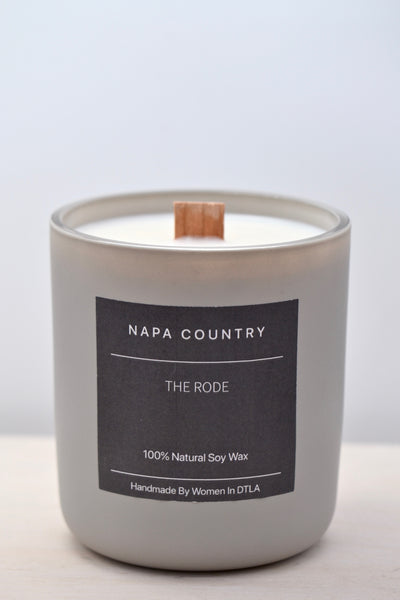 Premium natural 100% soy wax Napa Country candle handmade by women overcoming homelessness in Los Angeles. Hints of smoke and wood. Double wooden wicks in a reusable stone matte jar.