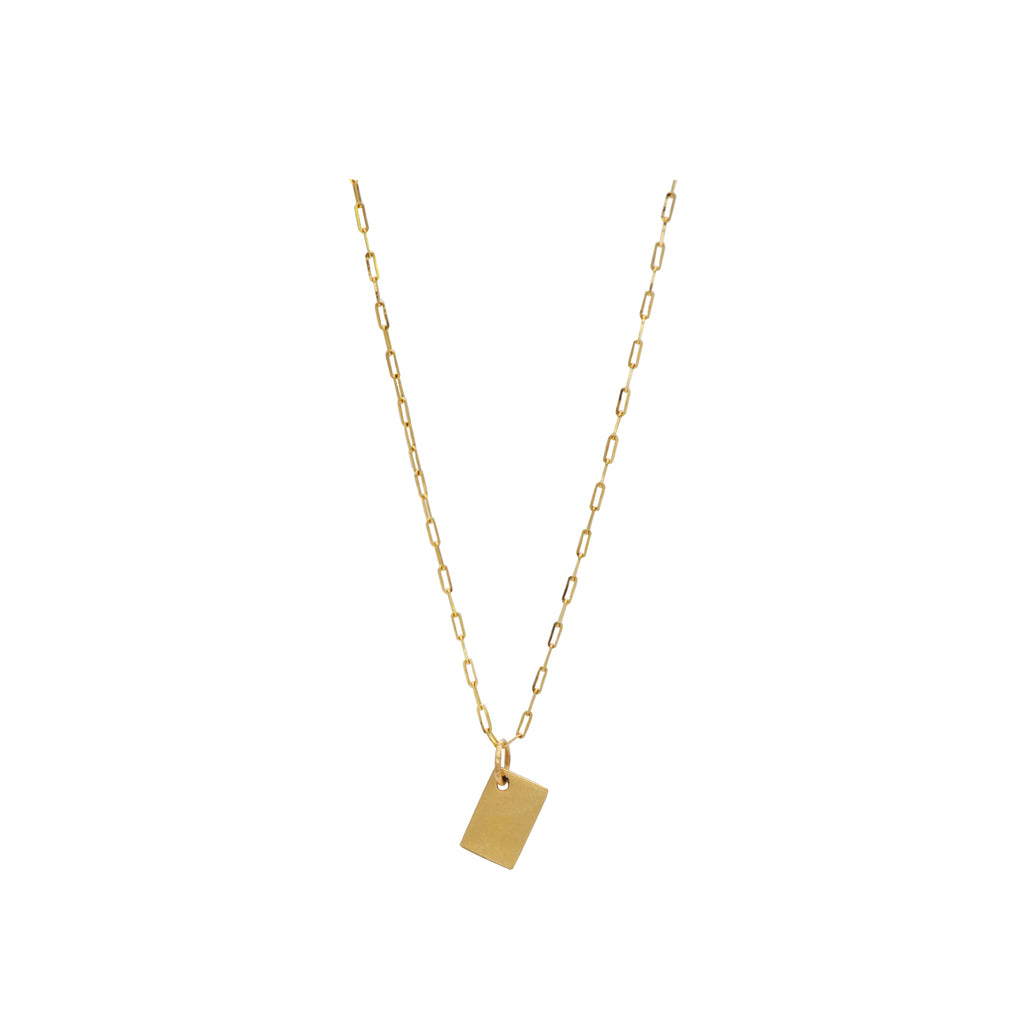 14k Gold Pendant Note Necklace Sustainable & USA Made. Handcrafted by women overcoming homelessness, this delicate 14k gold chain is strung with a mini Note pendant.