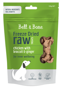 BELL & BONE Freeze Dried Raw Dog Treats: Chicken with Broccoli and Ginger 100g