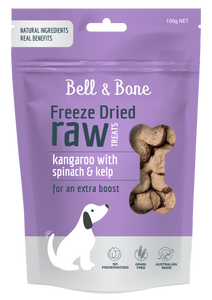 BELL & BONE Freeze Dried Treats: Kangaroo with Spinach and Kelp 100g