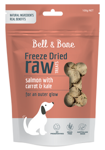 BELL & BONE Freeze Dried Raw Dog Treats: Salmon with Carrot and Kale 100g