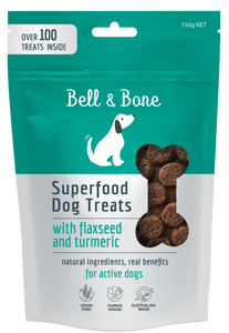 BELL & BONE Superfood Dog Treats with Flaxseed & Turmeric 100g