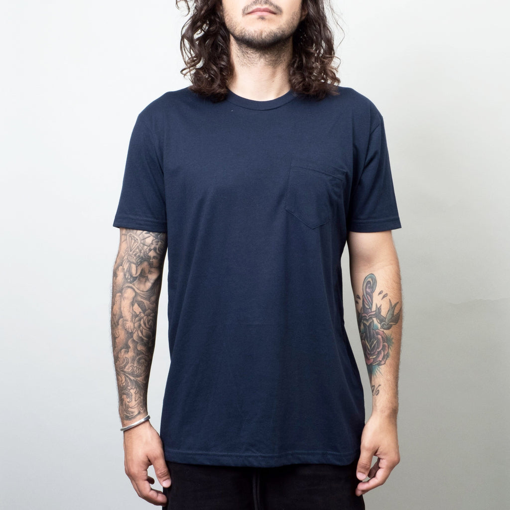 Univ - Pocket Crewneck Tee Deep Blue