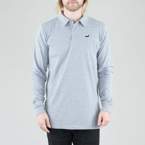 Univ - Dachshund Polo L/S Heather Grey