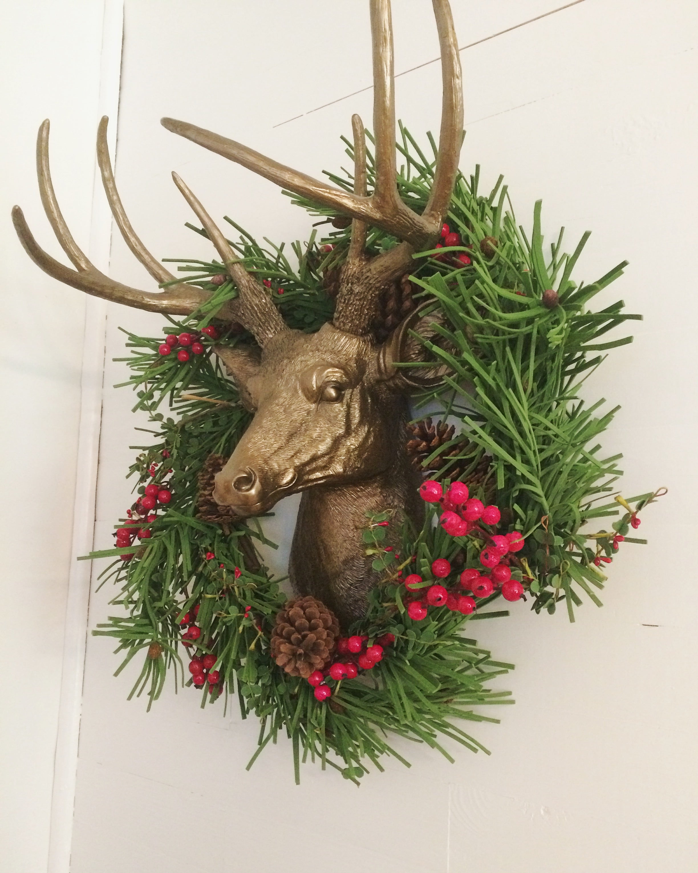 Faux Taxidermy Animal Head Christmas Holiday Decor