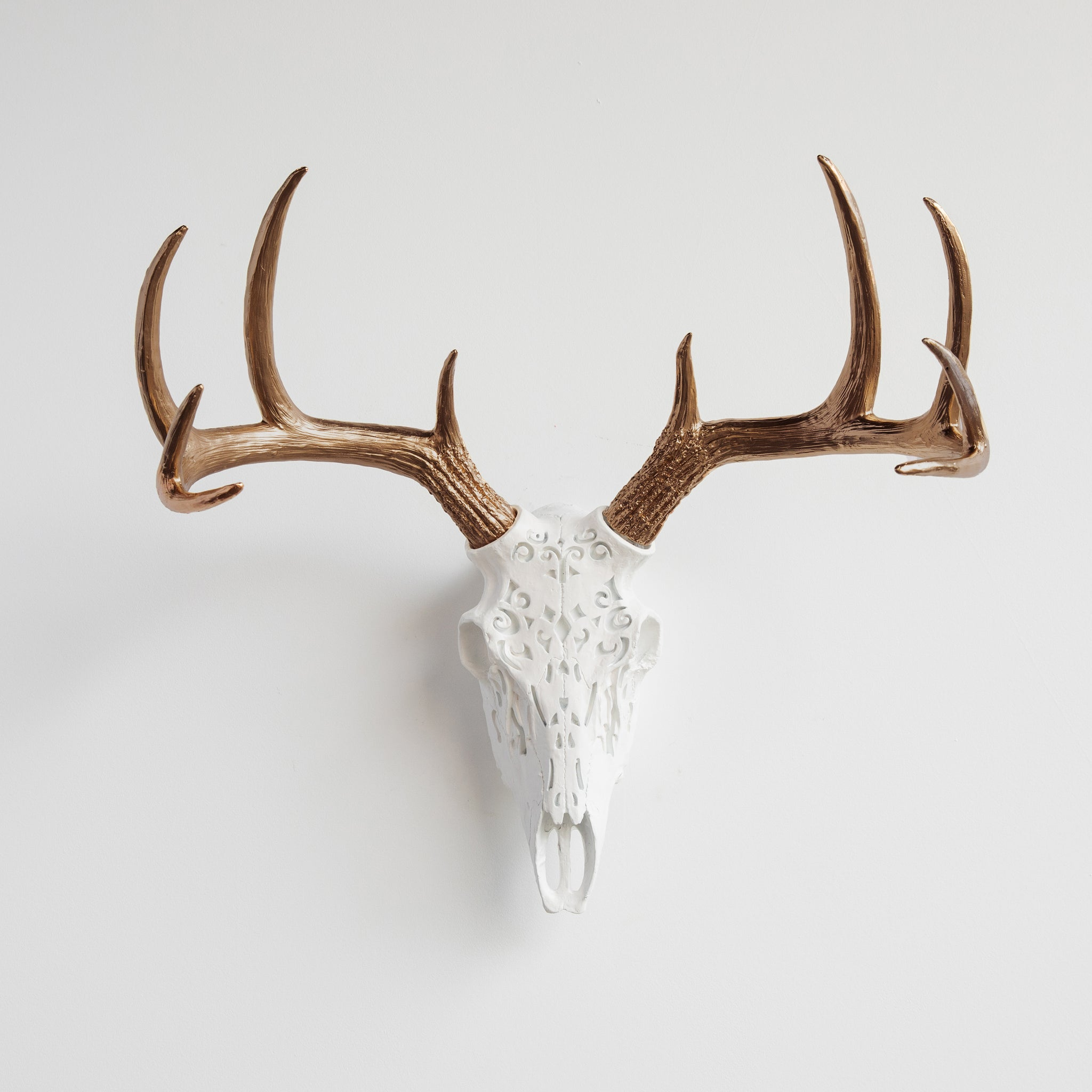Decorative Faux Carved Deer Skull // White and Bronze