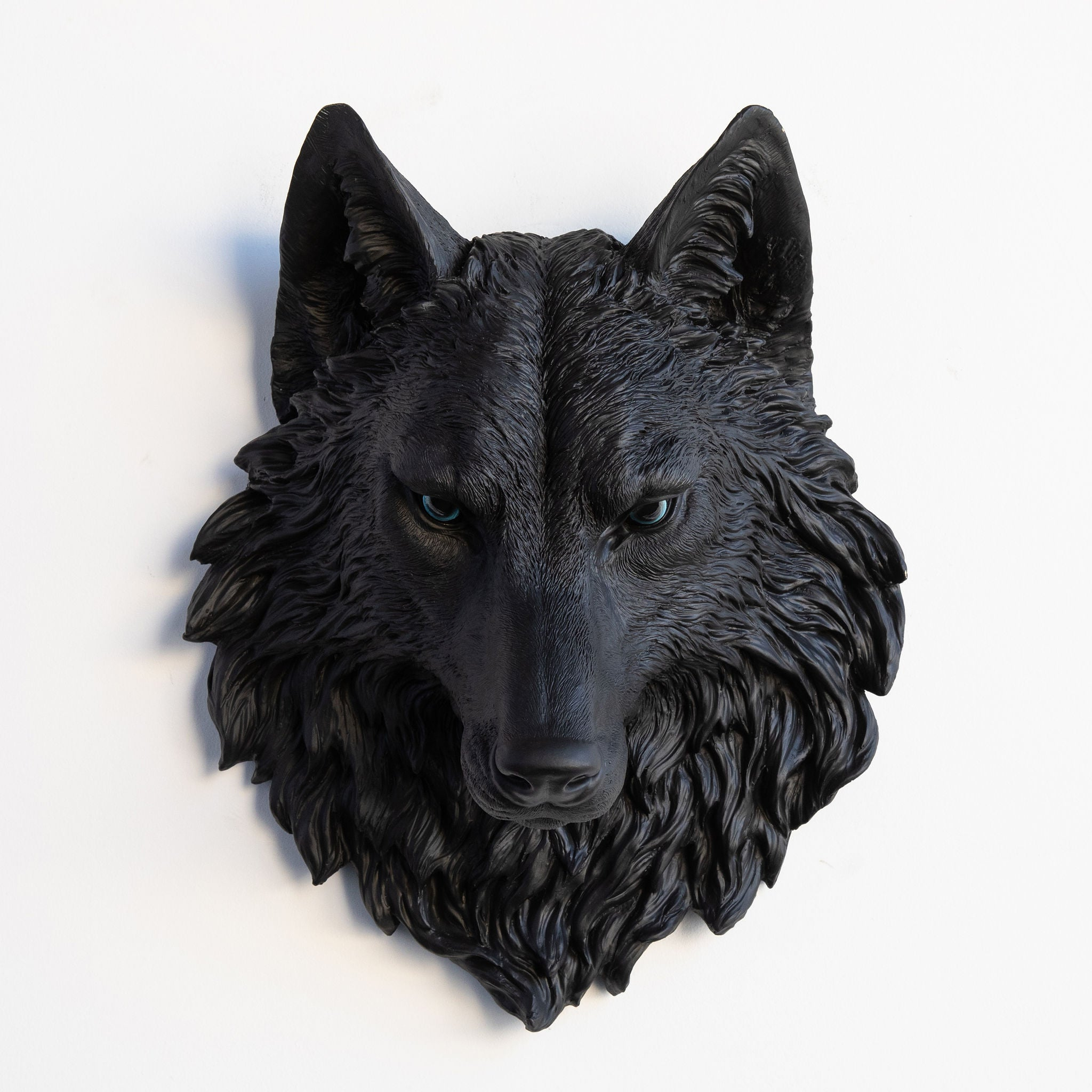 Faux Wolf Head Wall Mount // Black with Blue Eyes