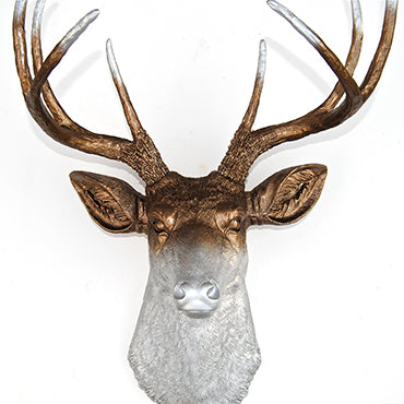 Ombre Deer Head Decor - Faded Metallic Bronze and Silver