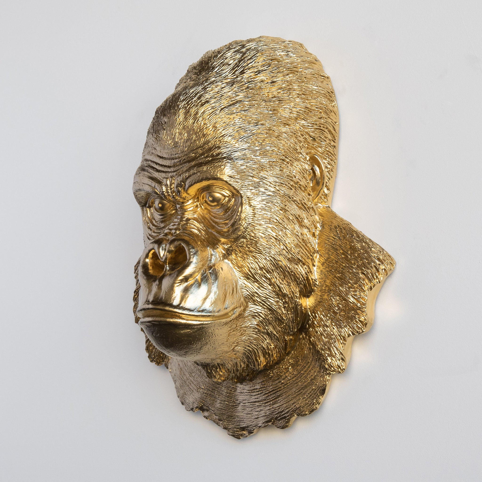 Faux Silverback Gorilla Head Wall Mount // Gold