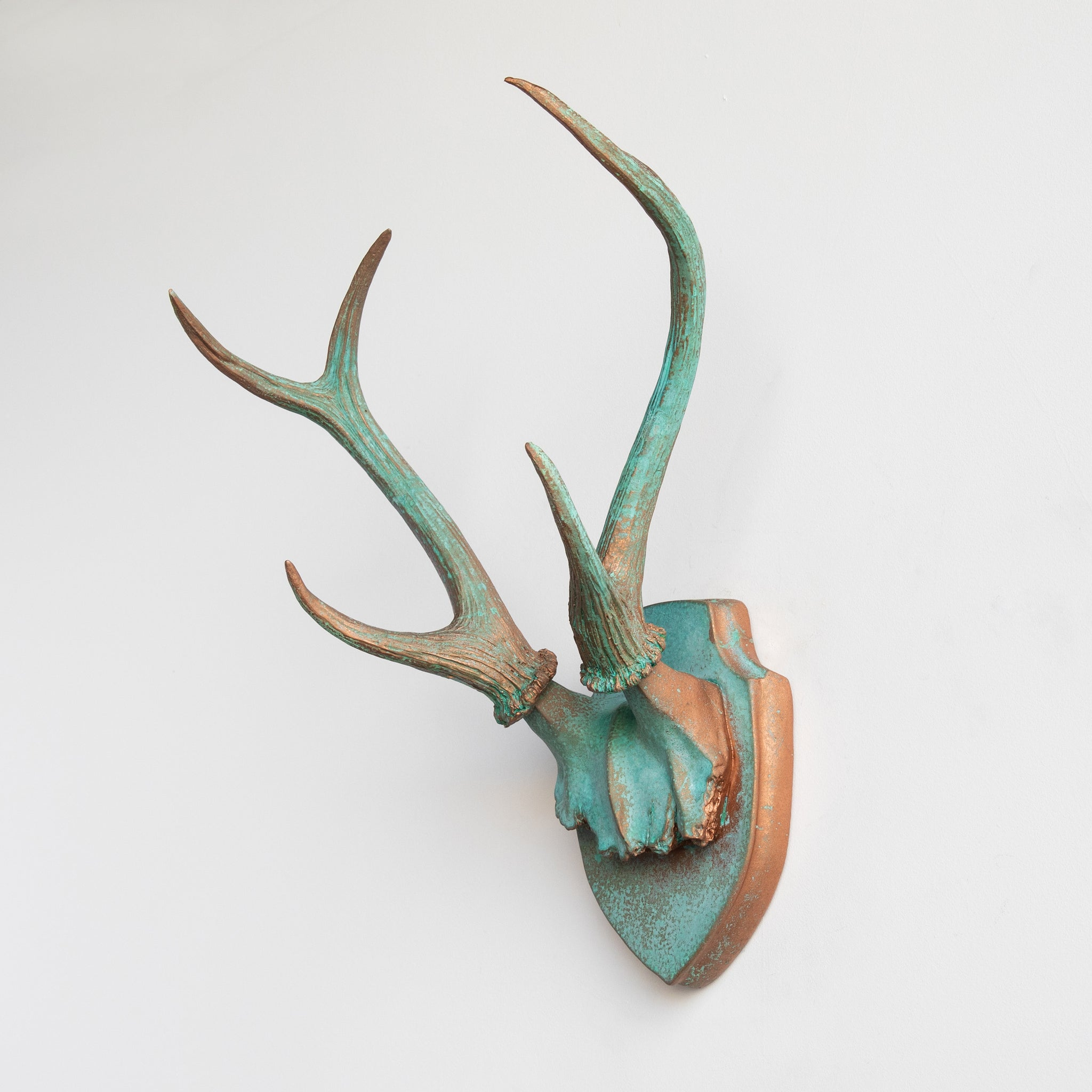 Faux Deer Antler Wall Trophy // Copper Patina