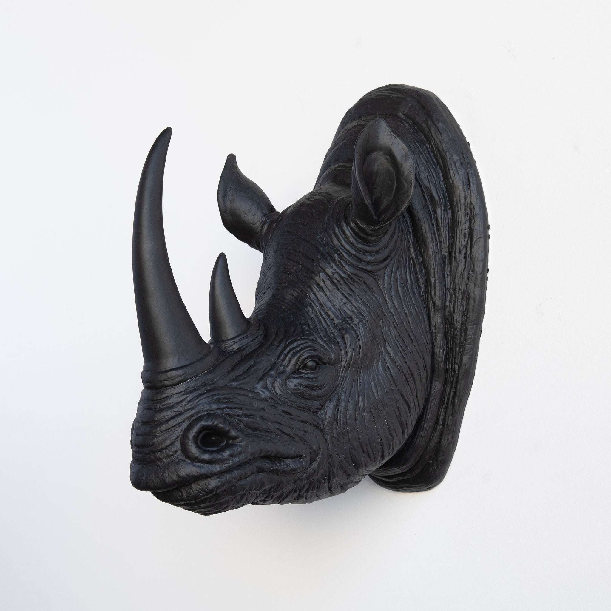 Faux Rhino Head Wall Mount // Black