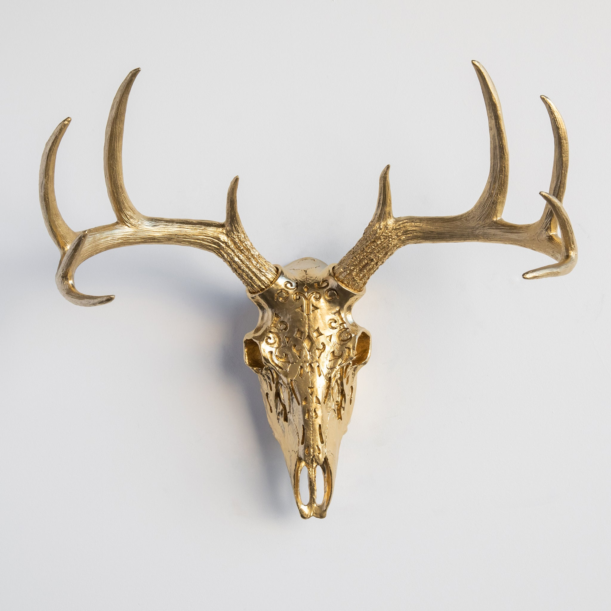 Decorative Faux Carved Deer Skull // Gold