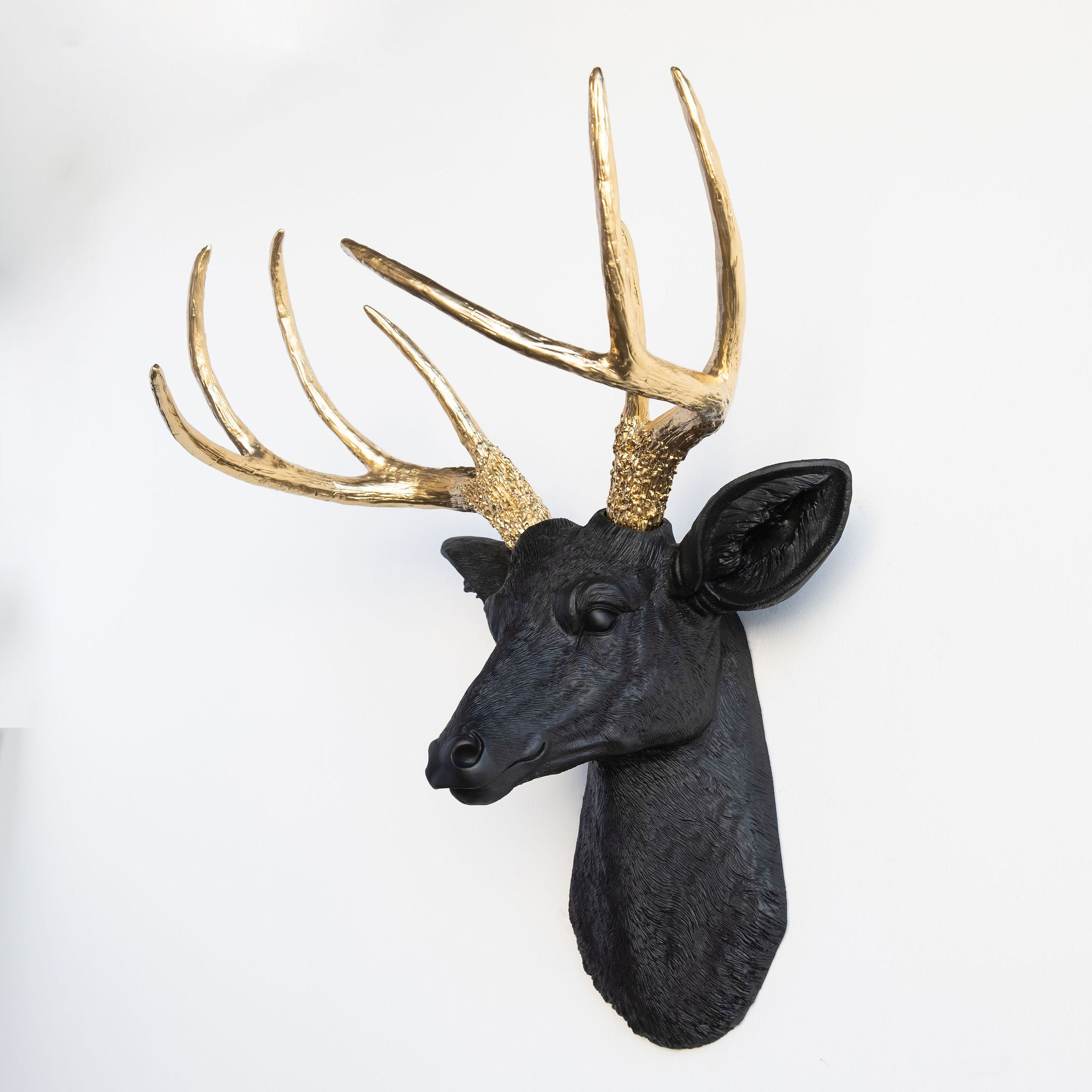 Faux Deer Head Wall Mount // Black and Gold