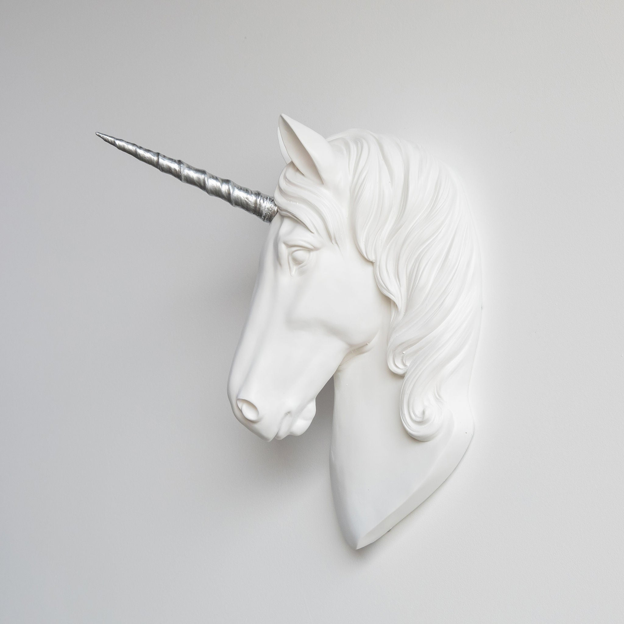 Faux Unicorn Wall Plaque // White and Silver
