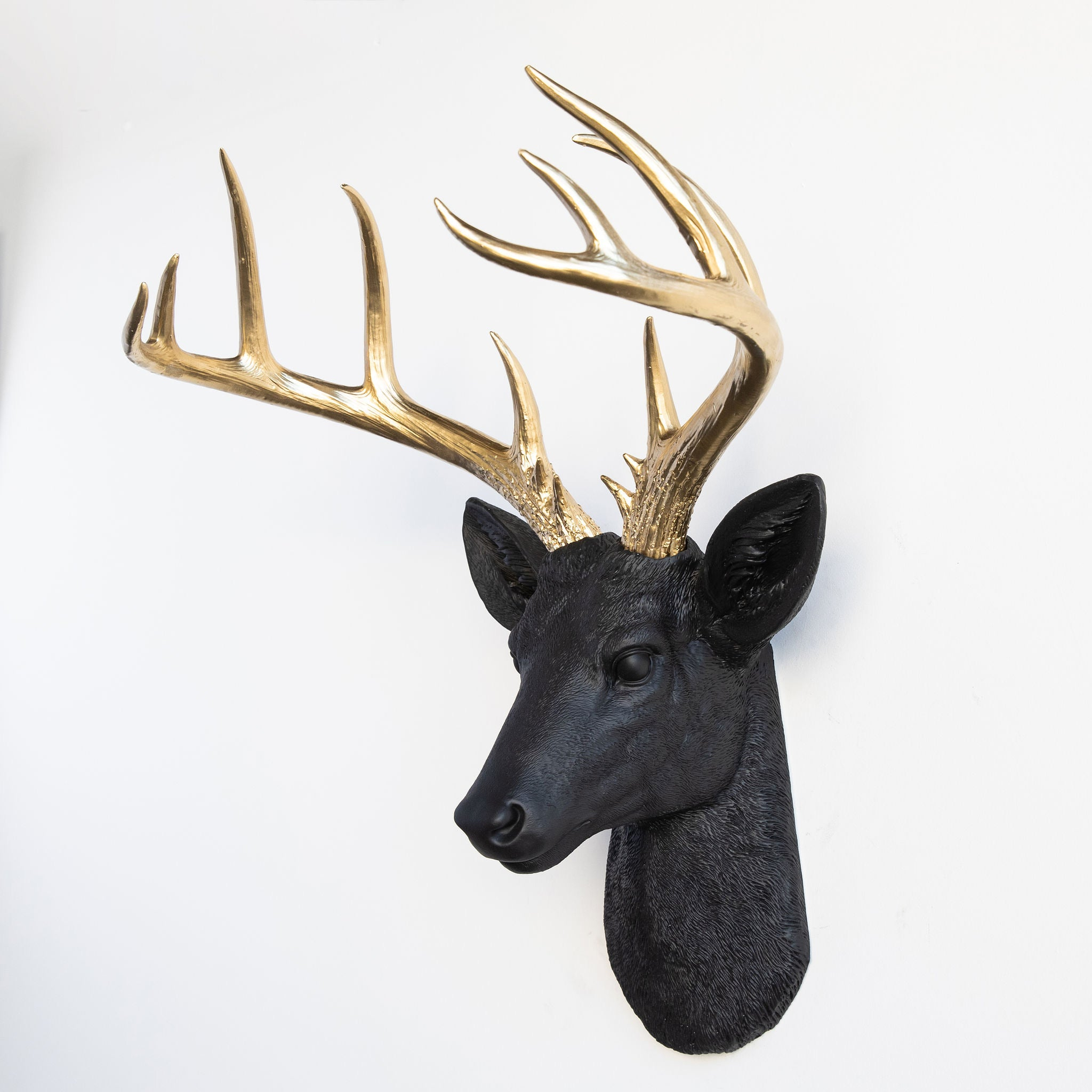 Faux Stag Deer Head Wall Mount // Black and Gold