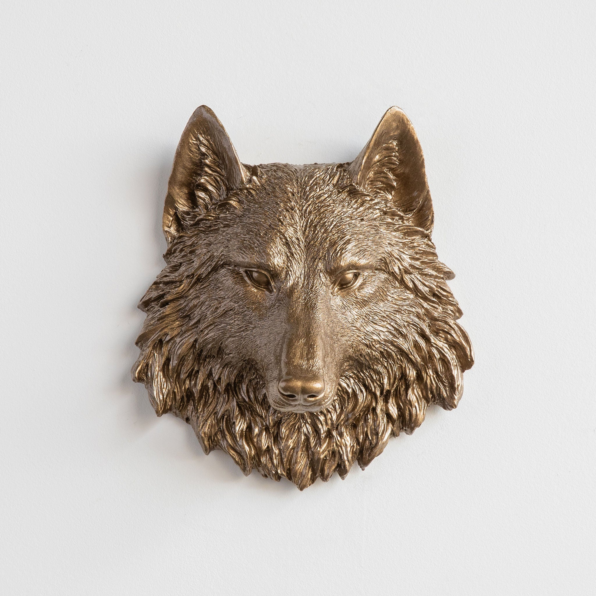 Miniature Wolf Head Wall Mount // Bronze