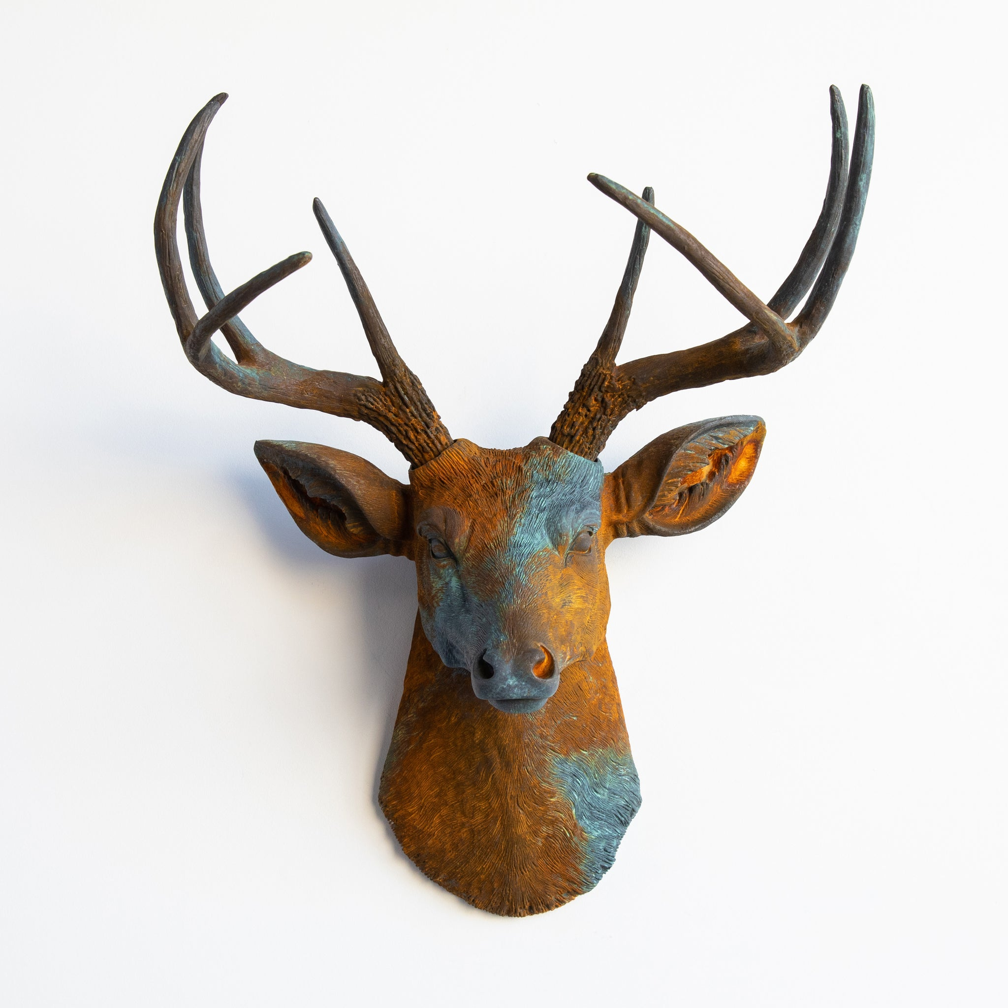 Faux Deer Head Wall Mount // Bronze and Blue Patina and Rust