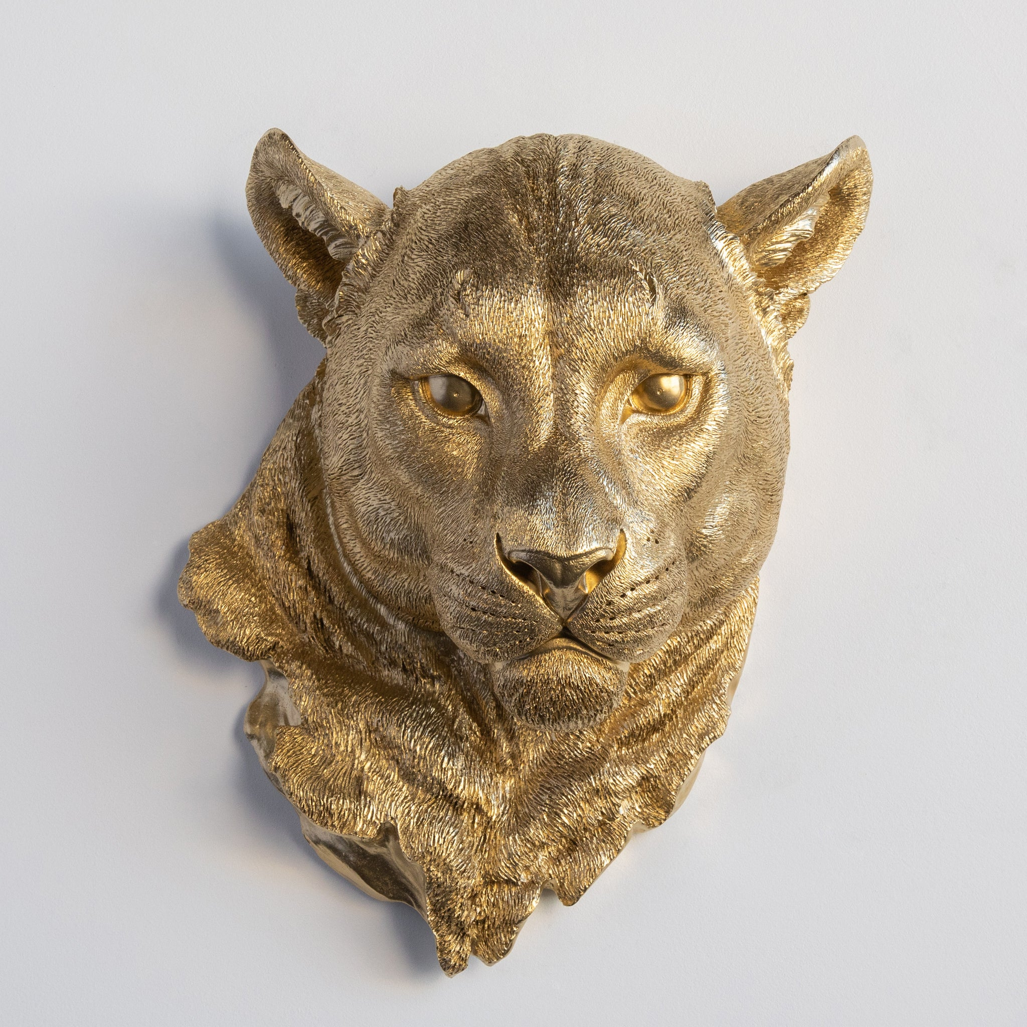 Faux Mountain Lion Head Wall Mount // Gold